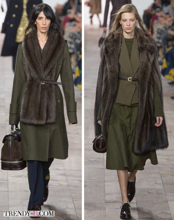 Пальто и деловой женский костюм цвета сухая трава от Michael Kors осень-зима 2015-2016