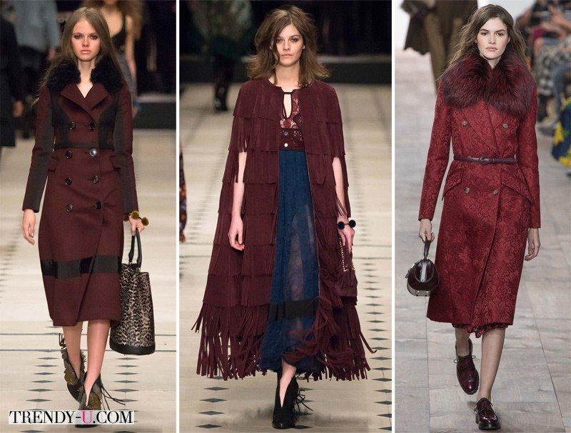 Модная верхняя одежда цвета Марсала осень-зима 2015-2016