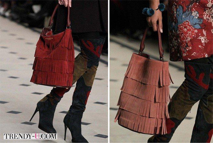 Замшевые сумки с лапшой - это тренд осенью и зимой!