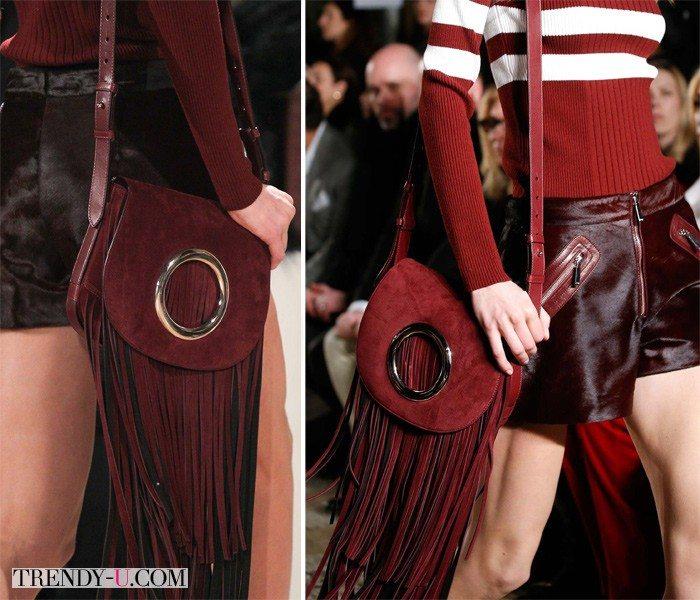 Замшевые сумки с лапшой цвета Марсала от Emilio Pucci FW 2015