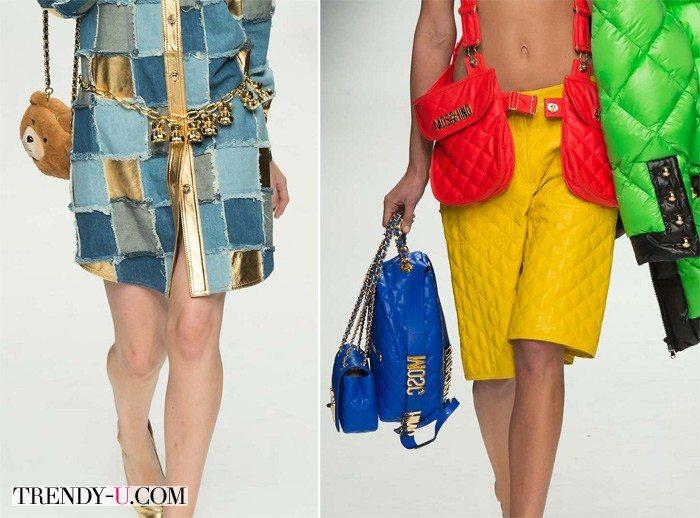 Сумка в виде плюшевого мишки, рюкзак, 2 saddle bags и сумка, напоминающая знаменитую сумочку от Chanell. Все сумки - Moschino FW 2015
