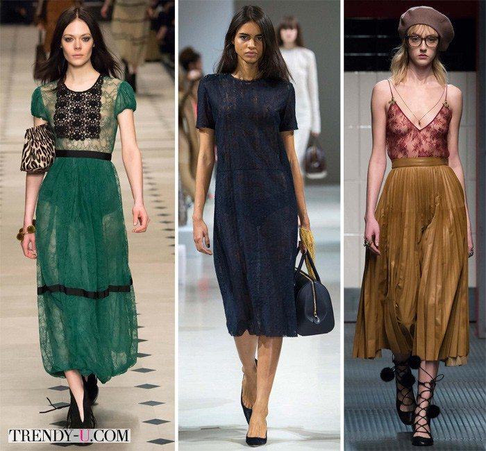 Модные кружевные платья от Burberry Prorsum и Nina Ricci, а также майка от Gucci осень-зима 2015-2016