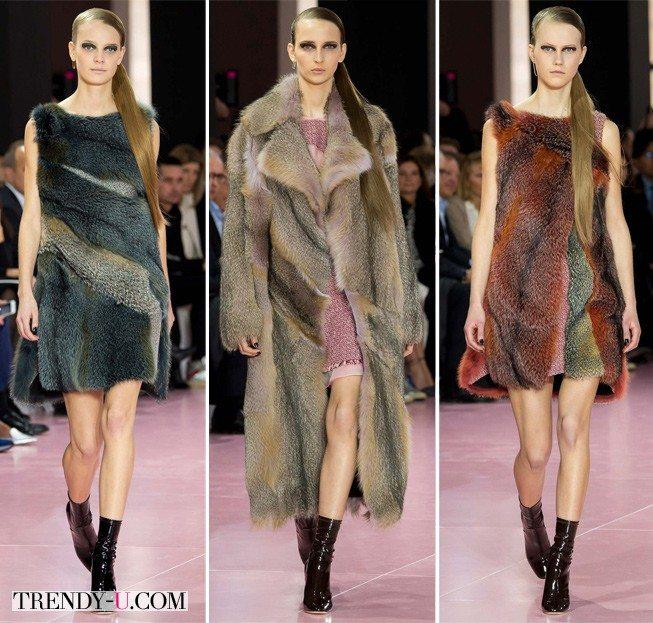 Шуба и платья из натурального меха Christian Dior осень-зима 2015-2016