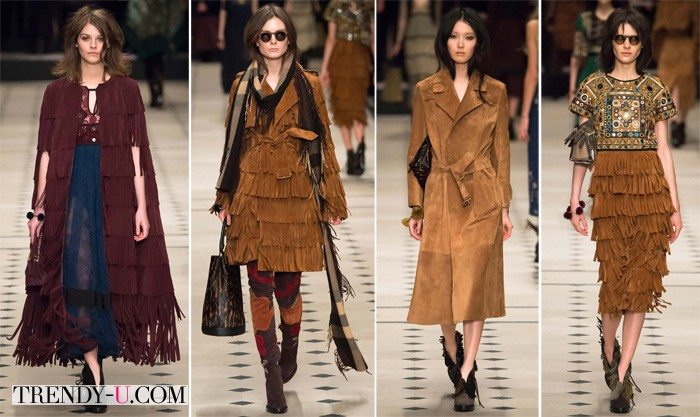 Модная одежда из замши осень-зима 2015 Burberry Prorsum
