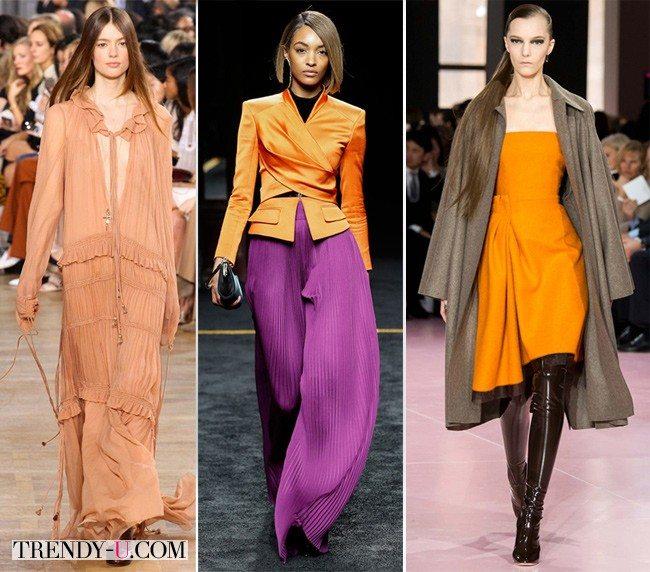 Модная женская одежда желто-оранжевого цвета осень-зима 2015 из коллекций Chloe, Balmain и Christian Dior
