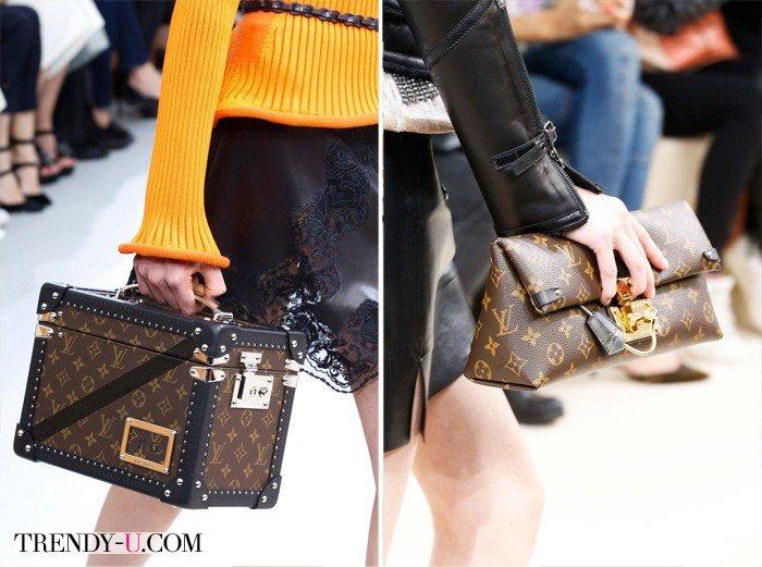 Сумка и клатч со знаменитым принтом Louis Vuitton осень-зима 2015-2016