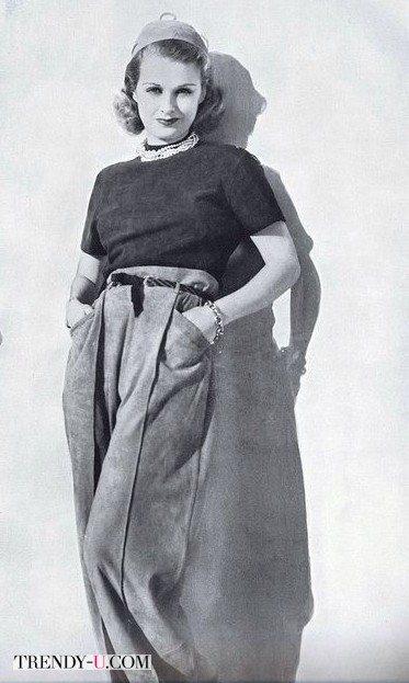 Мода 40-х годов: брюки