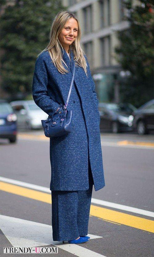 Пальто и брюки тон-в-тон