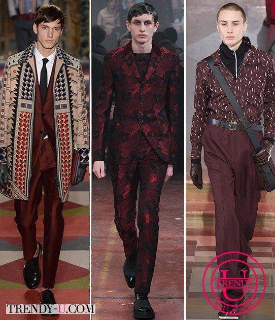 Модная мужская одежда осень-зима 2015-2016 от Valentino, Alexander McQueen и Lanvin цвета Марсала (бордового)