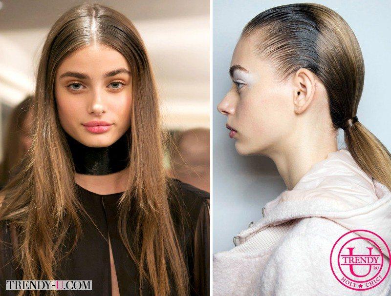 Прически зализанные волосы на показах Sacai и Emilio Pucci осень-зима 2015-2016