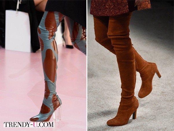 Высокие сапоги-чулки из лаковой кожи и замши by Christian Dior и Alberta Ferretti осень-зима 2015-2016