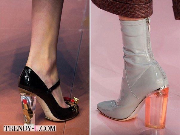 Туфли и ботильоны на каблуке из пластика от Dolce Gabbana Christian Dior осень-зима 2015