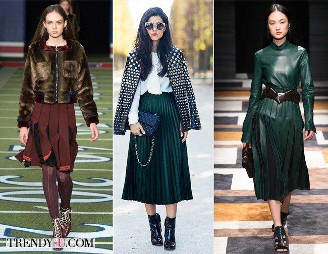 Плиссированные юбки от Tommy Hilfiger и Suno осень-зима 2015-2016. Посередине уличная модница