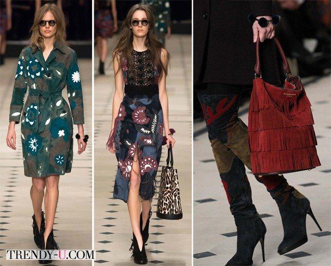 Тренчкот, юбка, ботфорты и сумка из замши с бахромой Burberry Prorsum осень-зима 2015-2016