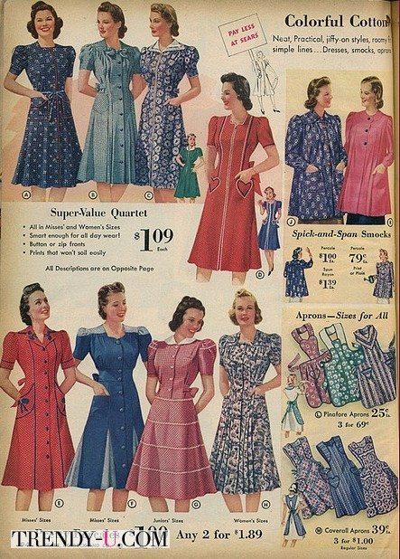 Стиль ретро 40-х: фасоны платьев