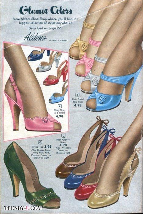 Модные в сороковых годах туфли