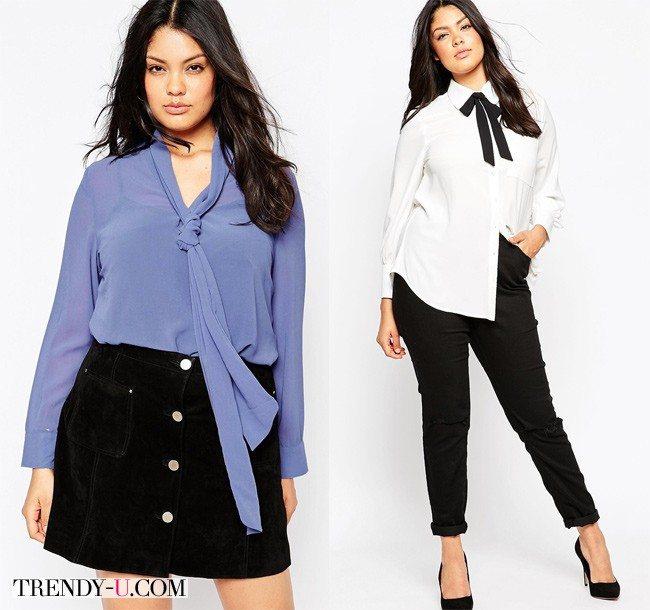 Полные девушки в эффектных блузках