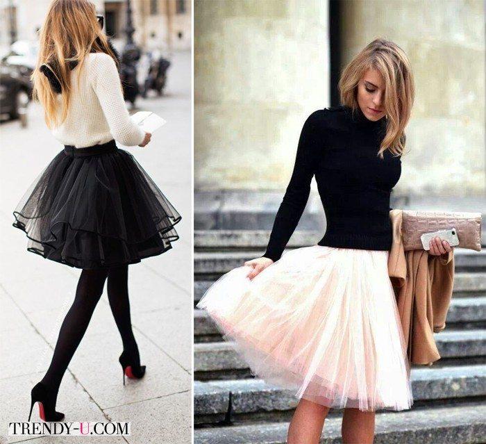 Черные пышные юбки из сетки