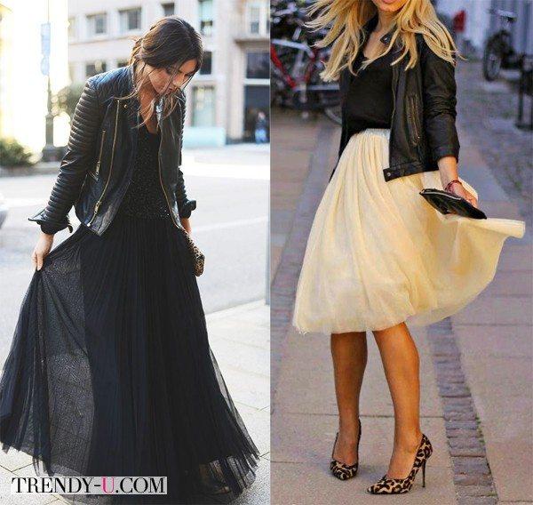 Черная и бежевая юбки из фатина в сочетании с кожаными куртками