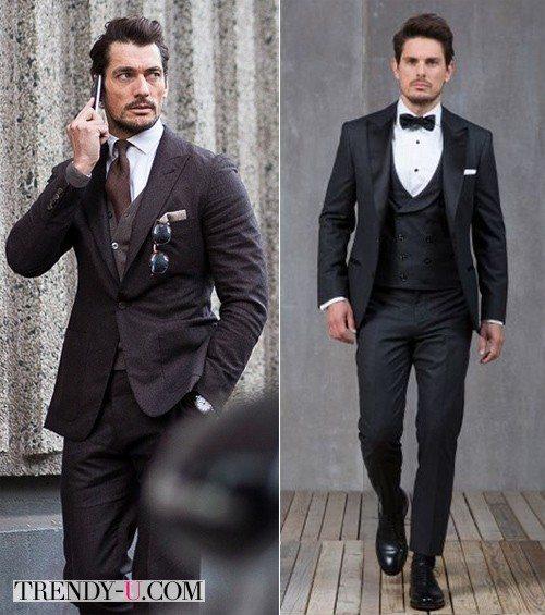 Стильные мужчины в костюмах тройках