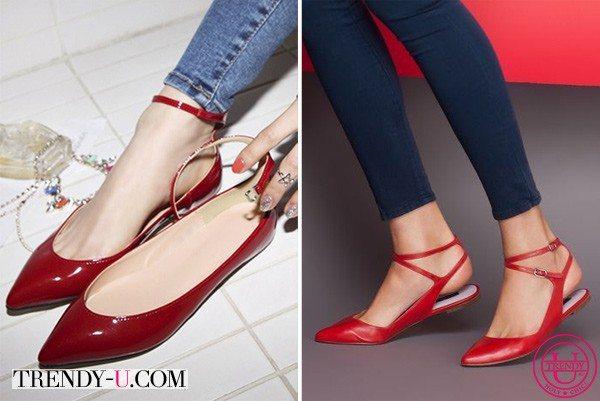 Красные туфельки и джинсы скинни
