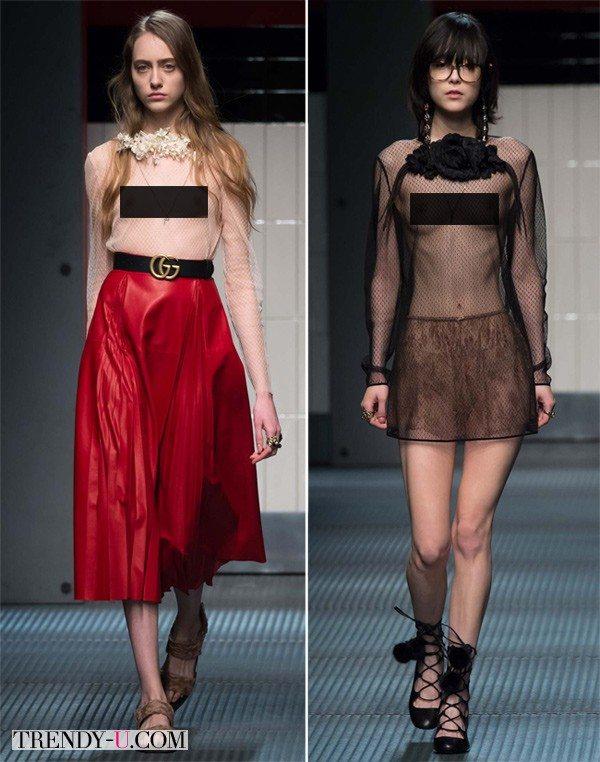 Блузки от Gucci осень-зима 2015-2016 прозрачны чуть более, чем полностью