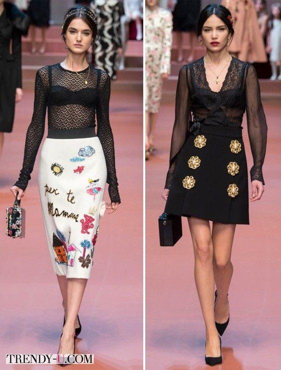 Кружевные блузки Dolche & Gabbana осень-зима 2015-2016