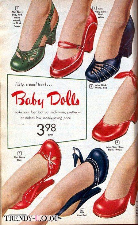 Модная обувь в стиле ретро 50-х