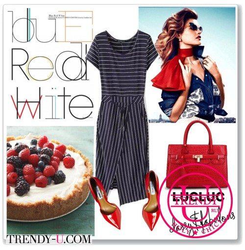 Лаковые туфли красного цвета и платье в деловом стиле