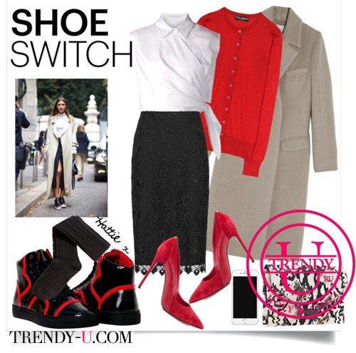 Красные замшевые туфли-лодочки на шпильке