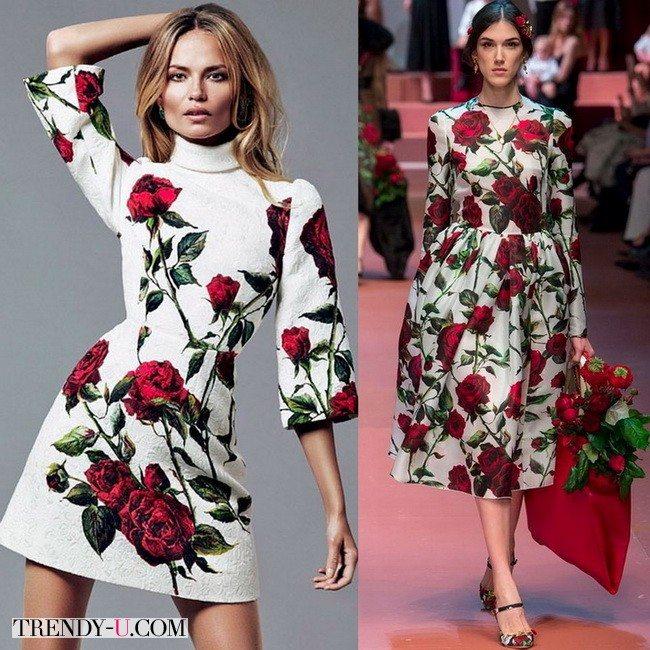 Платья Dolce&Gabbana с цветочным принтом осень-зима 2015-2016