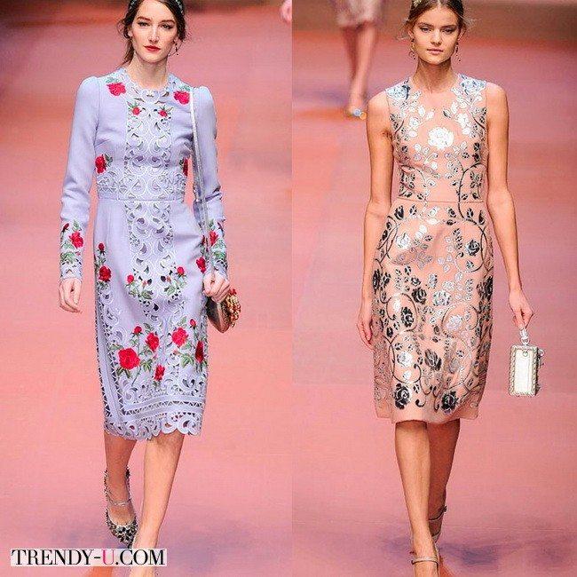 Платья Dolce&Gabbana с цветочным орнаментом осень-зима 2015-2016