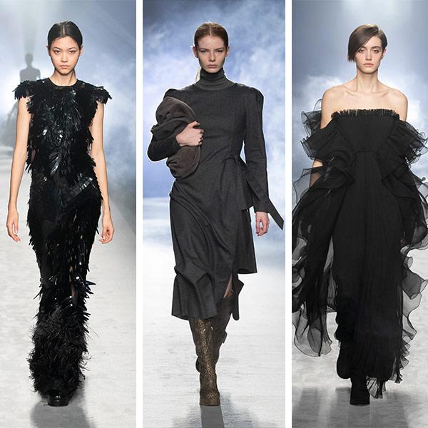 Платья черного цвета из осенне-зимней коллекции Alberta Ferretti