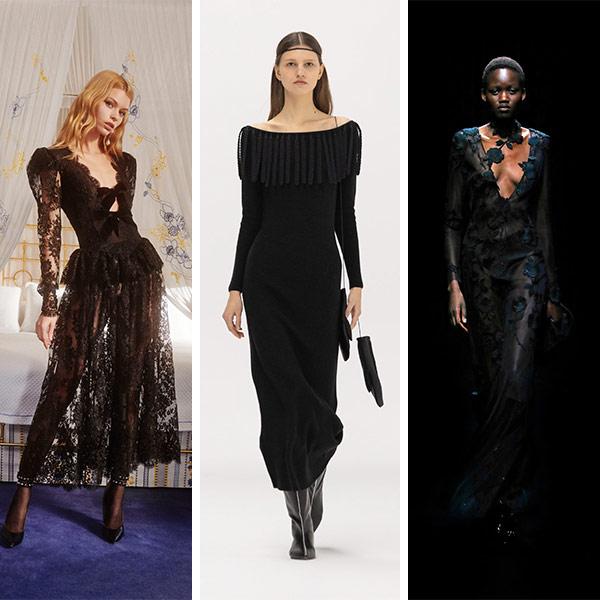 Черные платья из коллекций Alessandra Rich, Bevza и Blumarine осень-зима 2021-2022