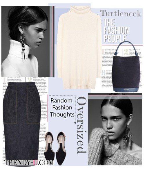 Белая водолазка и стильная джинсовая юбка-карандаш