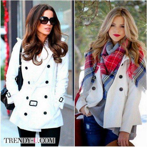 Белое короткое пальто идеально для теплой зимы 2017-2018