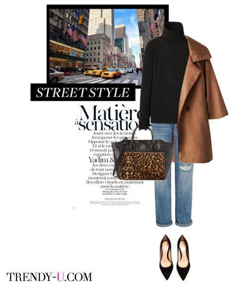 Черная водолазка (свитер), джинсы, пальто-кокон