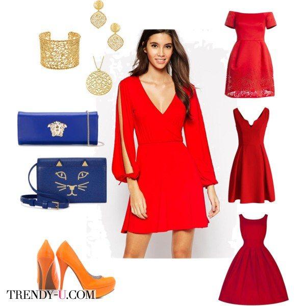 Красное коктейльное платье для празднования нового года 2016