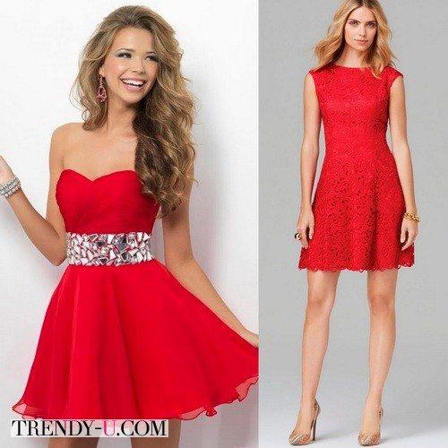 Красное мини-платье для празднования нового года 2016