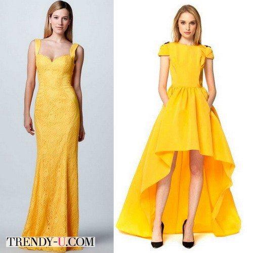 Стильное желтое вечернее платье для новогоднего корпоратива 2016