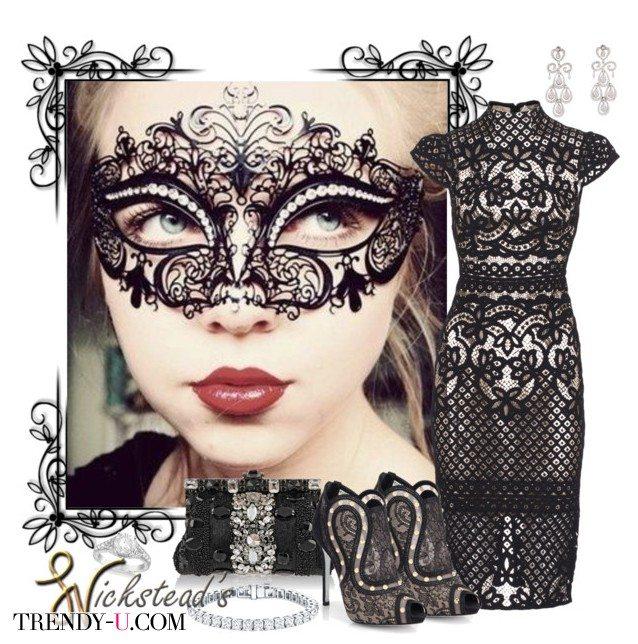 Платье из кружева и аксессуары, включая ажурную маскарадную маску