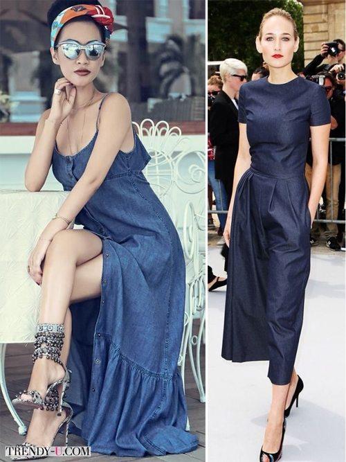 Джинсовый сарафан из легкого шамбрэ и мисс элегантность в платье-миди из темного джинса
