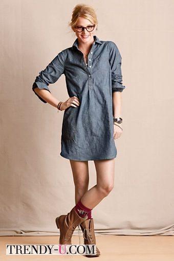 Джинсовое платье-рубашка с ботинками
