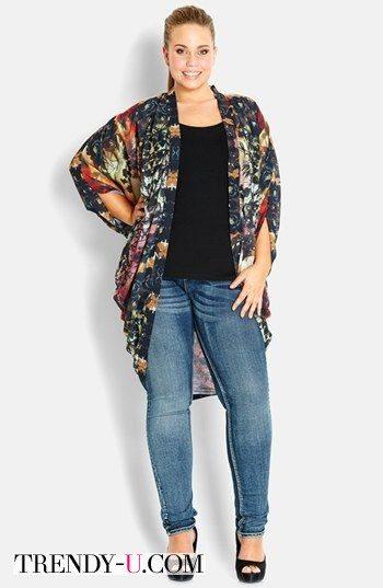 Кардиган-кимоно plus size с пестрым принтом
