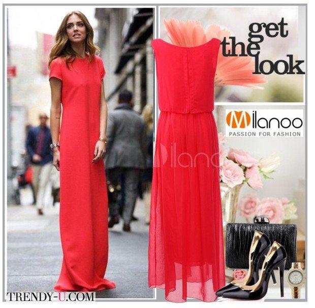 Красное платье-рубашка миди для новогоднего торжества 2016