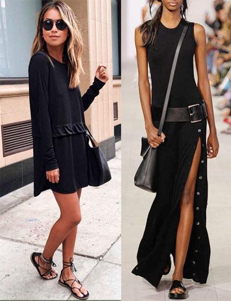 Черное платье без рукавов и с длинными рукавами летом