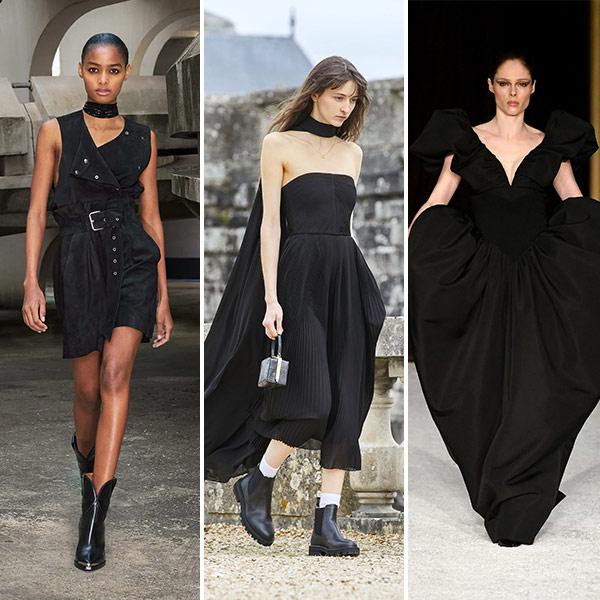 Черные платья для повседневных и вечернего выхода от Isabel Marant, Celine Christiano Seriano для модного осенне-зимнего сезона