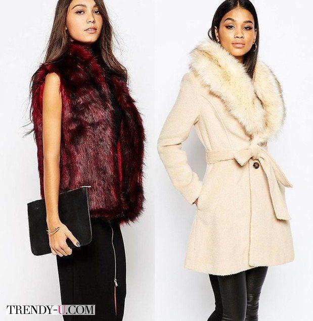 Модная жилетка из меха цвета марсала и приталенное светлое пальто с меховым воротником