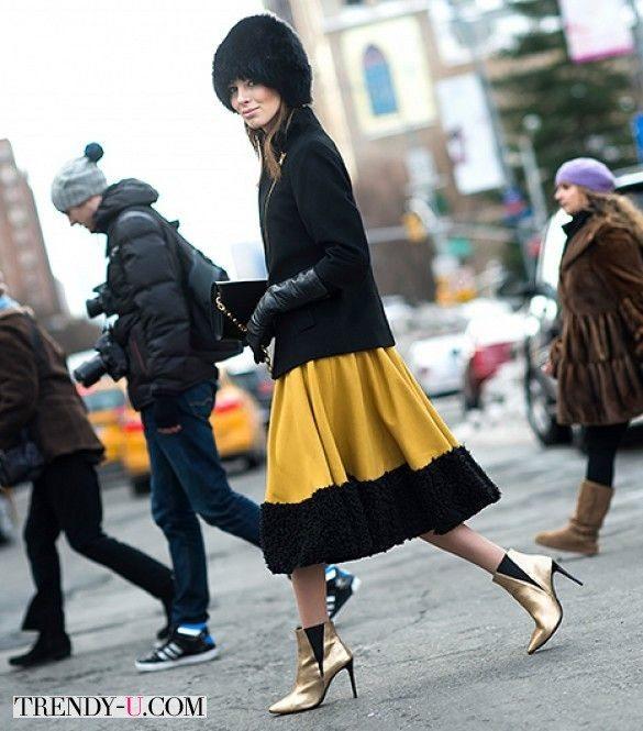 Супер-модно зимой 2015-2016! Зимняя юбка с меховой оторочкой