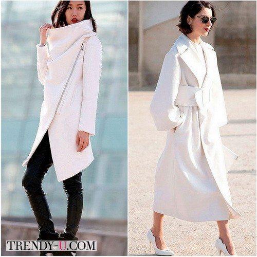 Красивое белое пальто с воротником для зимы 2017-2018
